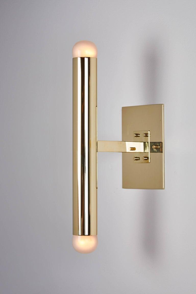 Mid-20th Century Set of Four Italian Brass Tubular Sconces For Sale