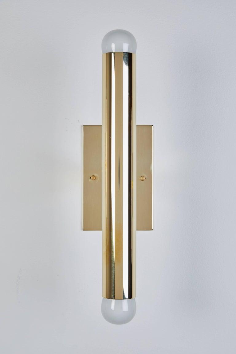Set of Four Italian Brass Tubular Sconces For Sale 1