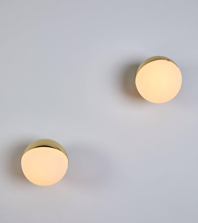 Mid-Century Modern Pair of Brass and Opaline Glass Sconces by Stilnovo For Sale