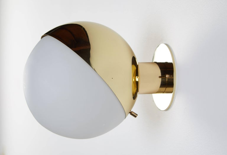 Pair of Brass and Opaline Glass Sconces by Stilnovo In Excellent Condition For Sale In Los Angeles, CA