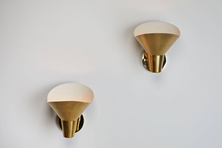 Four brass sconces by Hans Bergström for Atelje Lyktan. Designed in Sweden, circa 1940s. Wired for US junction boxes. Each sconce takes one E27 60w maximum bulb.