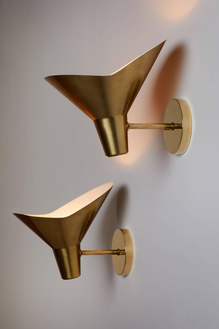 Mid-Century Modern Pair of Brass Sconces by Hans Bergström for Atelje Lyktan For Sale