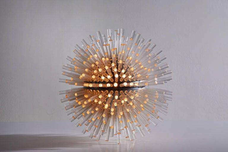 Rare table lamp by Marzio Cecchi designed in Italy, 1973. Chromed metal with plexiglass elements. Original cord. Takes one E27 75w maximum bulb. Literature: Bibliography Domus, April 1973, p. 35.