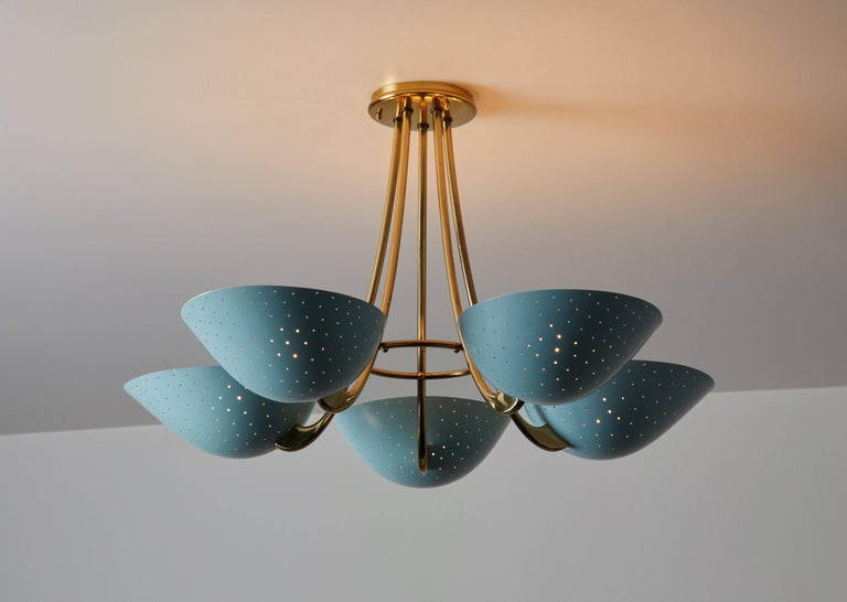 Rare five shade Swiss chandelier by Bag-Turgi, manufactured in Switzerland, circa 1950s. Original enameled metal and brass. Original paint color. Distinct perforations to each shade. Elegant brass armature mounted to each shade. Wired for US
