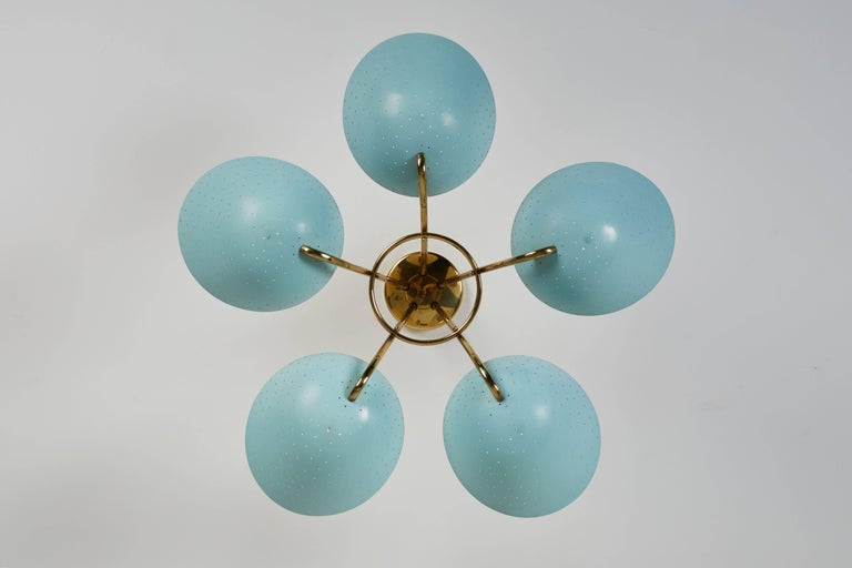 Enameled Rare Swiss Chandelier by Bag-Turgi For Sale