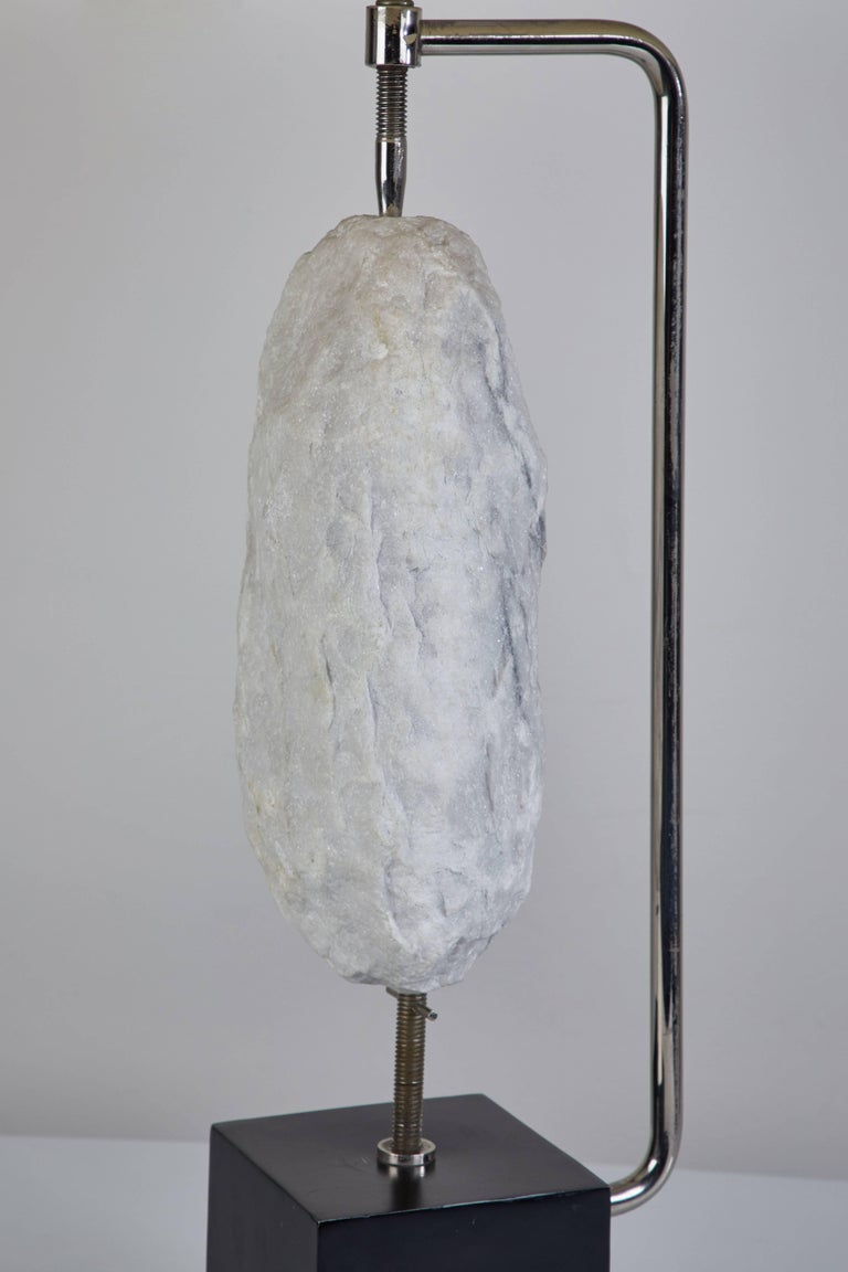 Metal Pair of Quartz Specimen Table Lamps by Laurel For Sale