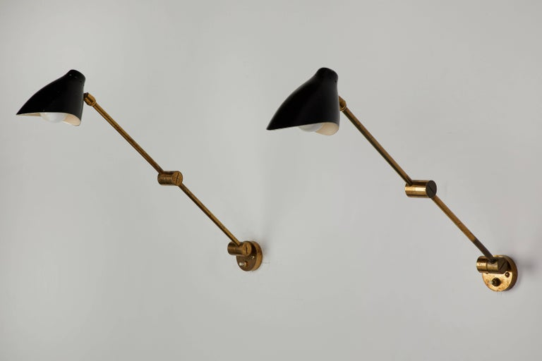 Pair of Wall Lights by Angelo Lelli for Arredoluce In Good Condition For Sale In Los Angeles, CA