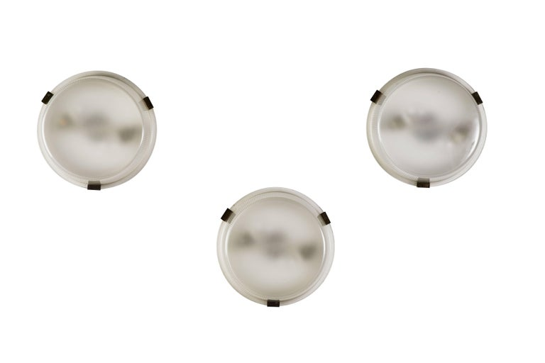 Mid-Century Modern Three Rare Flush Mount Wall/Ceiling Lights by Ignazio Gardella for Azucena For Sale