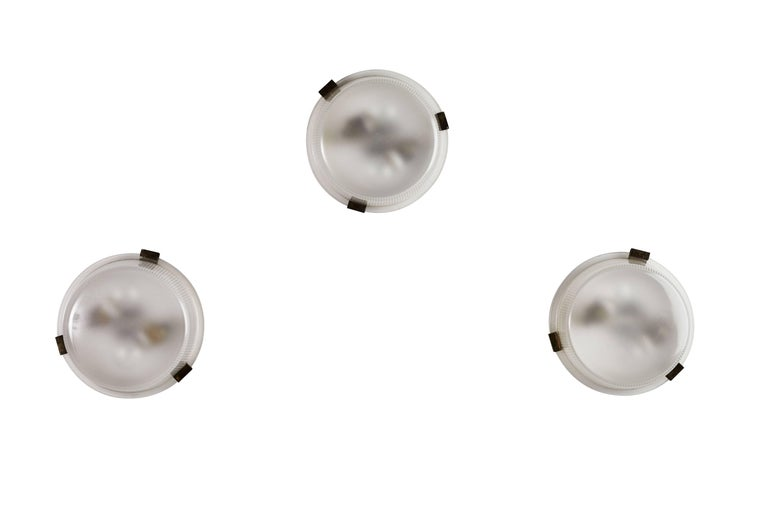 Italian Three Rare Flush Mount Wall/Ceiling Lights by Ignazio Gardella for Azucena For Sale