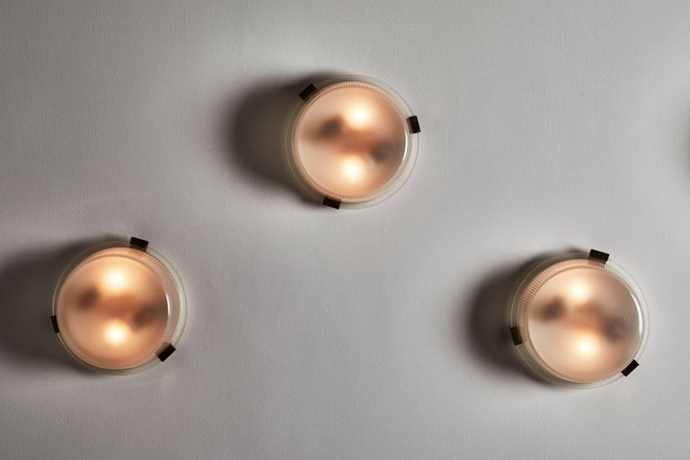 Enameled Three Rare Flush Mount Wall/Ceiling Lights by Ignazio Gardella for Azucena For Sale