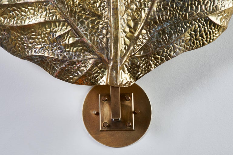 """Brass Three Sculptural """"Leaf"""" Wall Lights by Tommaso Barbi For Sale"""