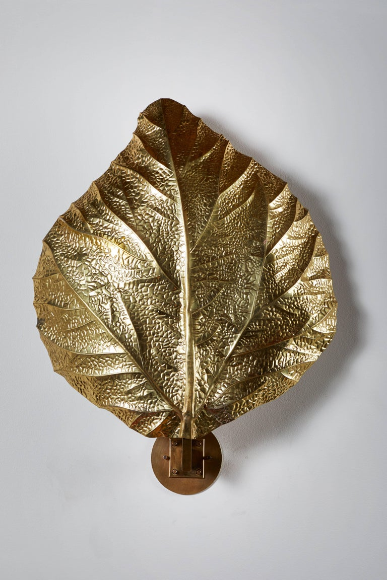 """Hammered Three Sculptural """"Leaf"""" Wall Lights by Tommaso Barbi For Sale"""