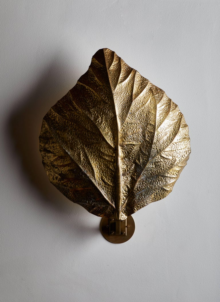 """Italian Three Sculptural """"Leaf"""" Wall Lights by Tommaso Barbi For Sale"""