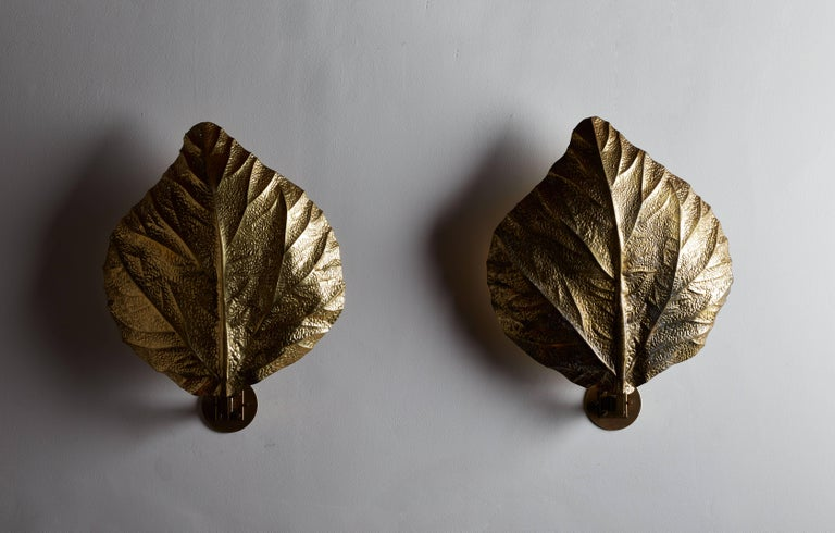 """Mid-Century Modern Three Sculptural """"Leaf"""" Wall Lights by Tommaso Barbi For Sale"""