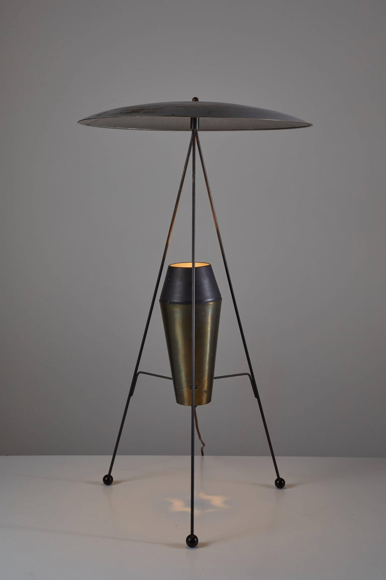 Model F-2 G floor lamp designed by A.W. and Marion Model Geller for Heifetz manufactured in USA in 1951. Aluminum, metal, rubber and enameled steel. Original cord. Takes one E26 100w maximum bulb. Literature: Arts and Architecture May 1951
