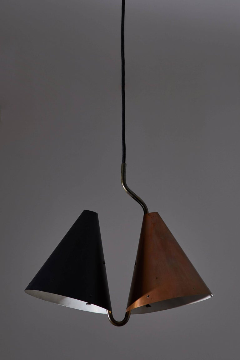 Mid-Century Modern Rare Double Pendant Lamp by Svend Aage Holm Sørensen for Lyfa For Sale
