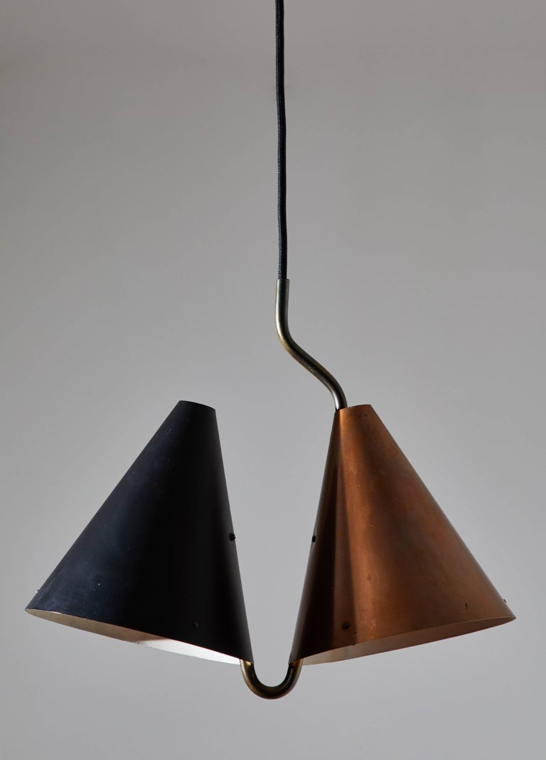 Danish Rare Double Pendant Lamp by Svend Aage Holm Sørensen for Lyfa For Sale