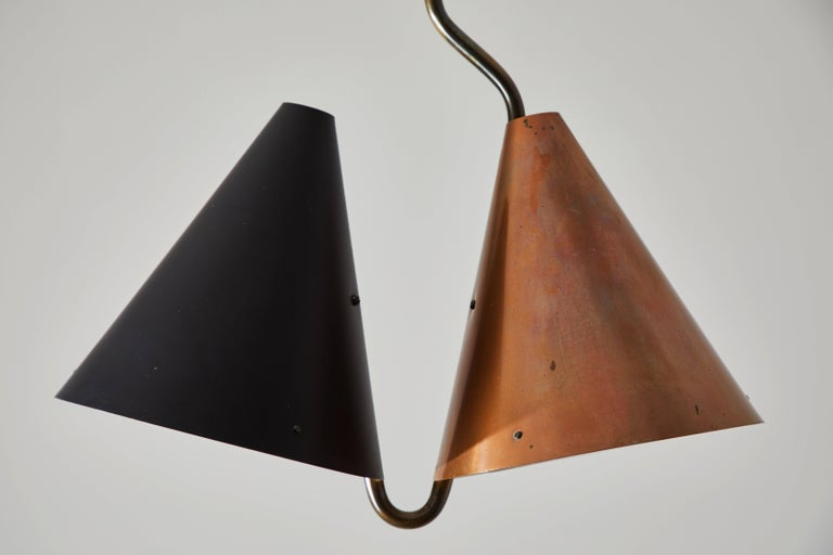 Plated Rare Double Pendant Lamp by Svend Aage Holm Sørensen for Lyfa For Sale
