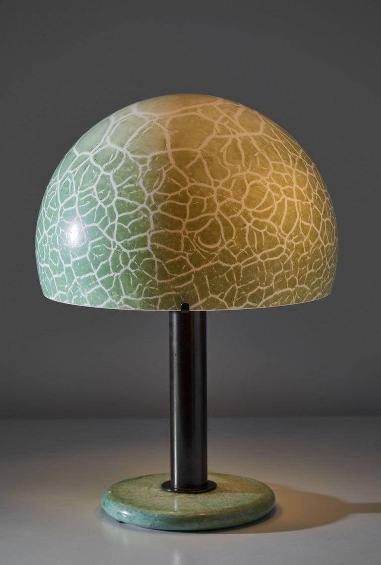 Model 832 table lamp by Venini. Manufactured in Italy, circa 1960s. Alabastro glass shade and base, bronzed metal stem. Takes one E27 100w. Literature: Franco Deboni, Venini Glass vol 1. Turin, 2007 p. 247.