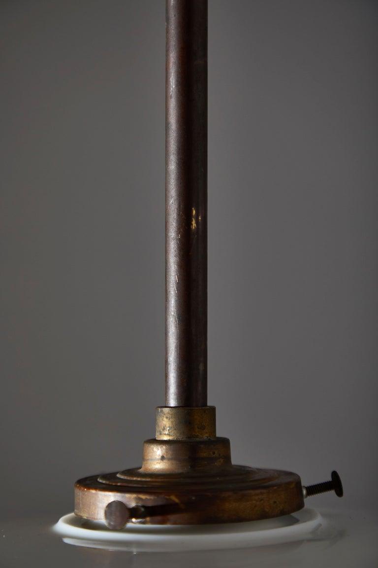 Brass Rare Industrial Milk Glass Pendant For Sale