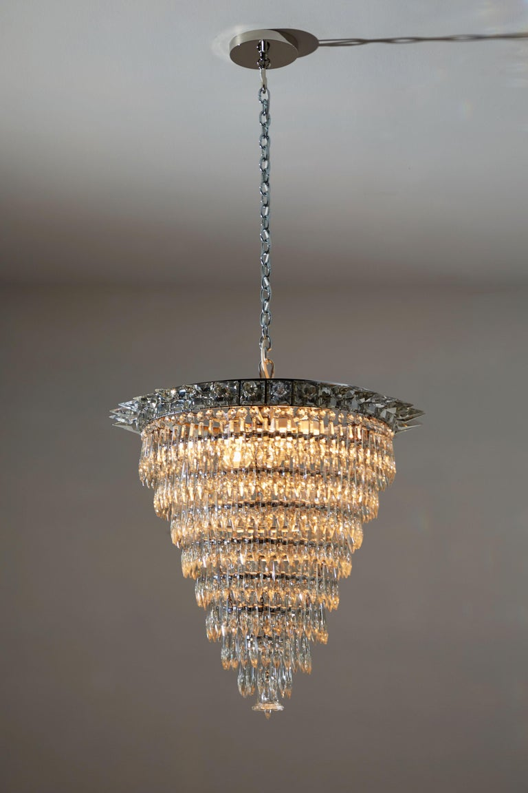 Art Deco Crystal Chandelier Designed And Manufactured In France Circa 1930s Fully Red Brass