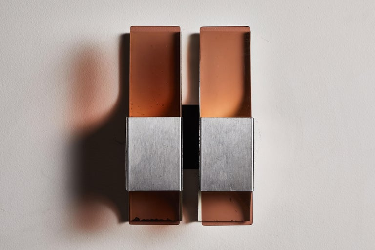 Stainless Steel Three French Sconces For Sale