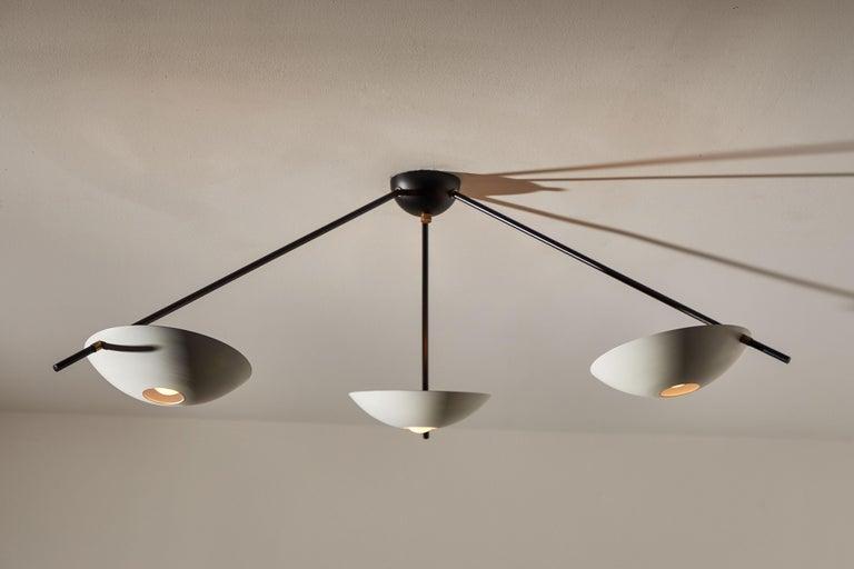 Mid-Century Modern Three-Arm Italian Flush Mount Ceiling Light For Sale