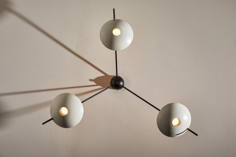 Enameled Three-Arm Italian Flush Mount Ceiling Light For Sale