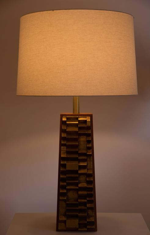Brass and walnut table lamps designed for Laurel and Co.
