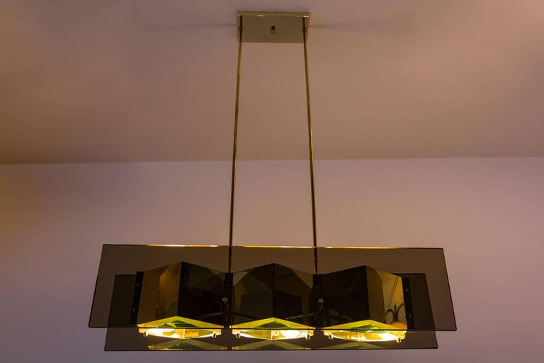 Stilnovo Chandelier with Brass Shades and Green Glass Diffusers 3