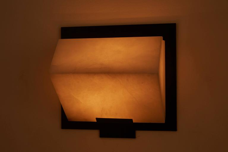 Mid-Century Modern Simple Sloping Block Wall Lamp by Pierre Chareau Model SBA 118 For Sale