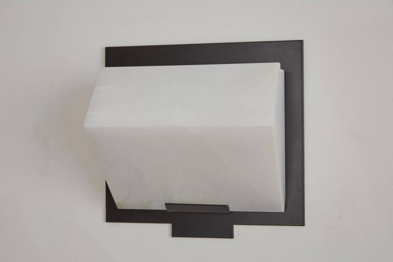 Stainless Steel Simple Sloping Block Wall Lamp by Pierre Chareau Model SBA 118 For Sale