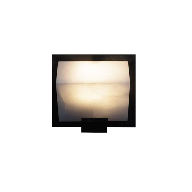 French Simple Sloping Block Wall Lamp by Pierre Chareau Model SBA 118 For Sale