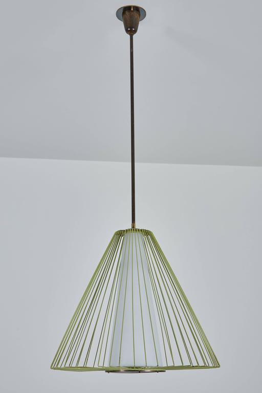 Wire and Glass Pendant in the style of Arredoluce In Excellent Condition For Sale In Los Angeles, CA