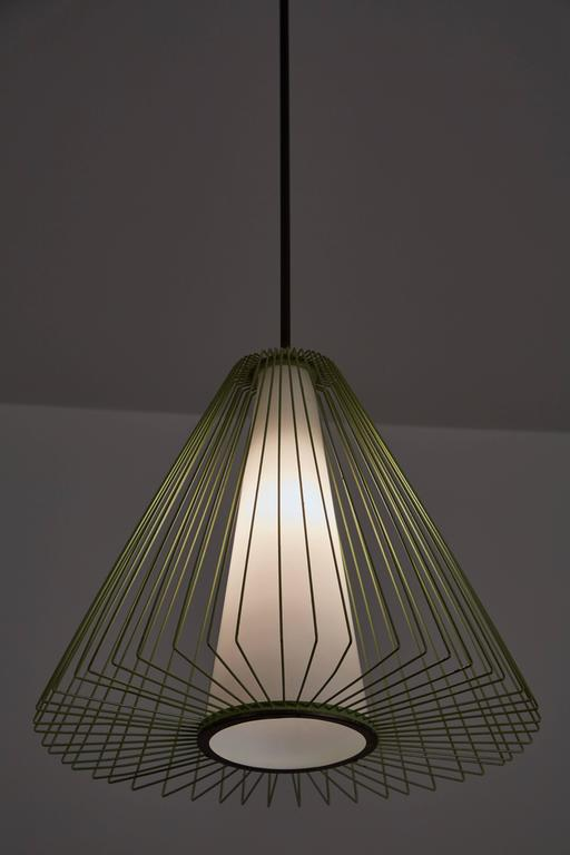 Mid-Century Modern Wire and Glass Pendant in the style of Arredoluce For Sale