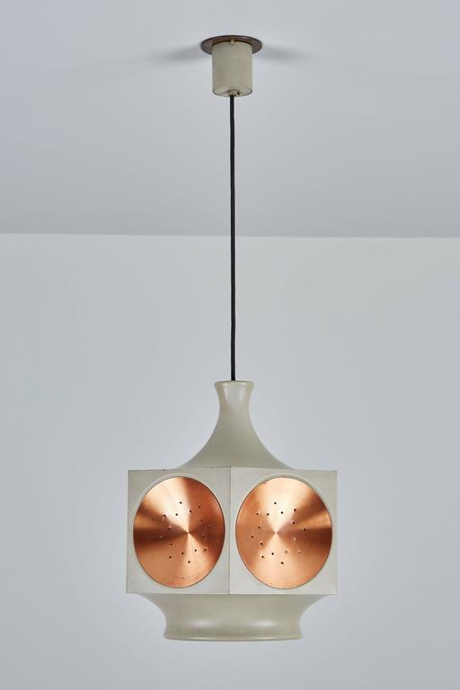 European Model 1255 Copper and Metal Hexagonal Pendant by Stilnovo For Sale
