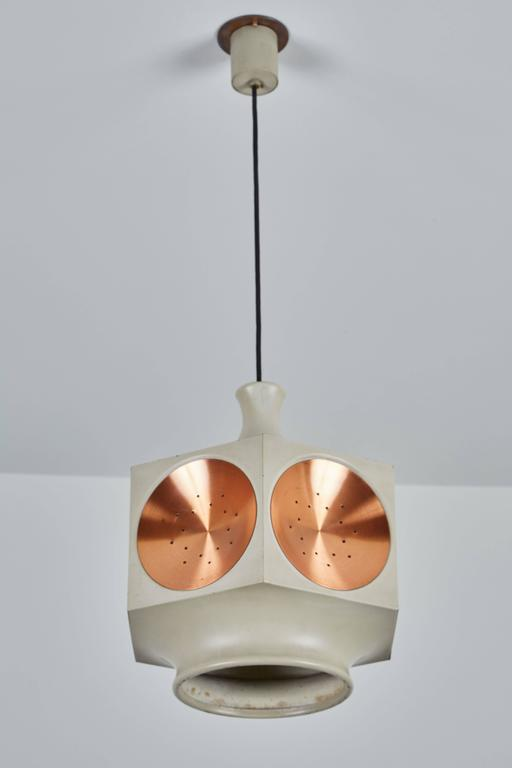 Mid-Century Modern Model 1255 Copper and Metal Hexagonal Pendant by Stilnovo For Sale