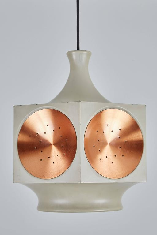 Model 1255 Copper and Metal Hexagonal Pendant by Stilnovo 5