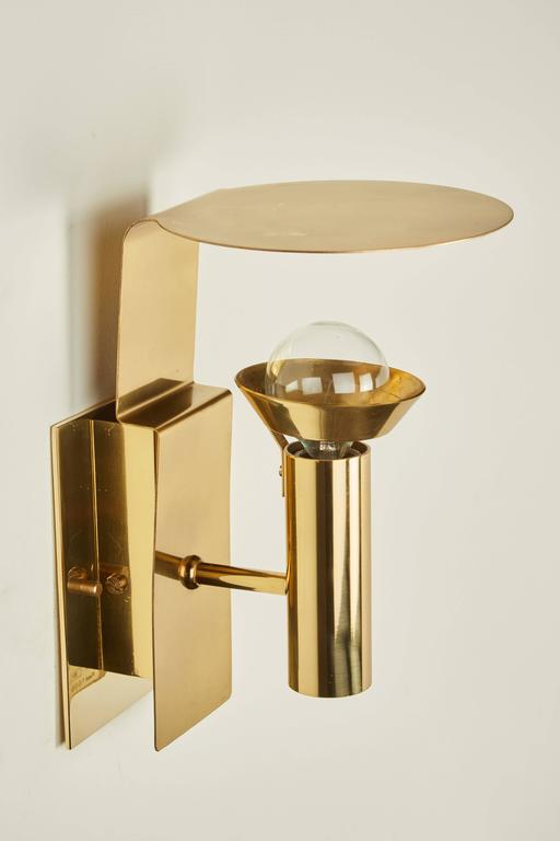 Mid-20th Century Two Brass Swedish Sconces by Focus Design For Sale