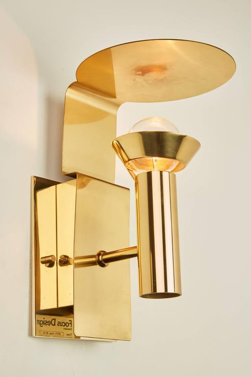 Two Brass Swedish Sconces by Focus Design For Sale 1