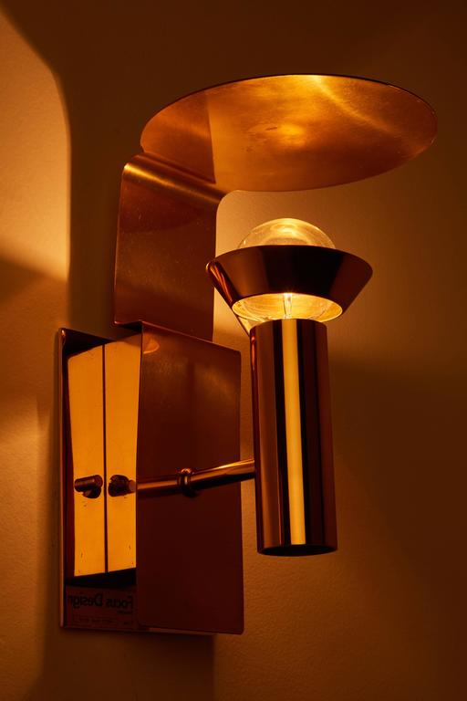 Mid-Century Modern Two Brass Swedish Sconces by Focus Design For Sale