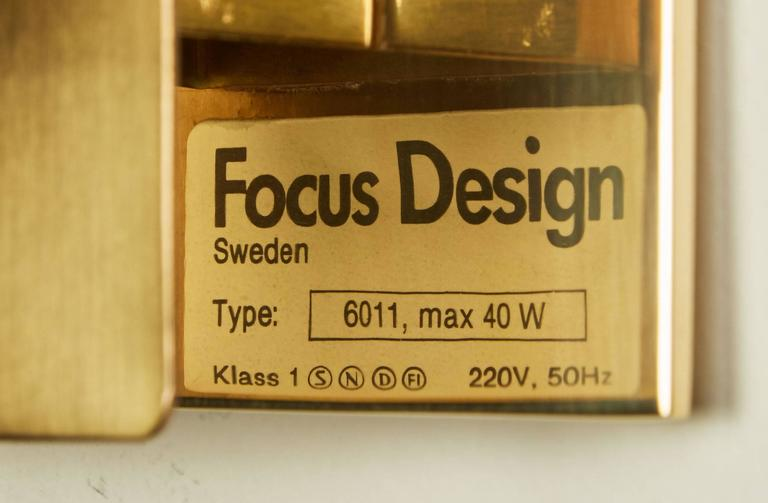 Two Brass Swedish Sconces by Focus Design For Sale 4