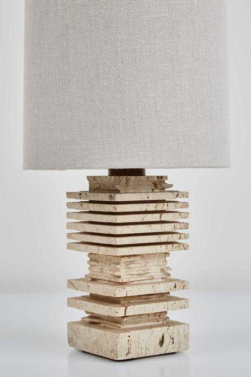 Mid-Century Modern Pair of Carved Italian Travertine Table Lamps For Sale