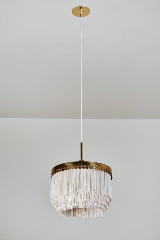 Mid-Century Modern Brass and Silk Cord Pendant by Hans-Agne Jakobsson for Markaryd For Sale