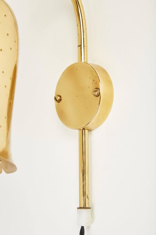 Pair of Perforated Brass Wall Lights by Boréns Borås 6