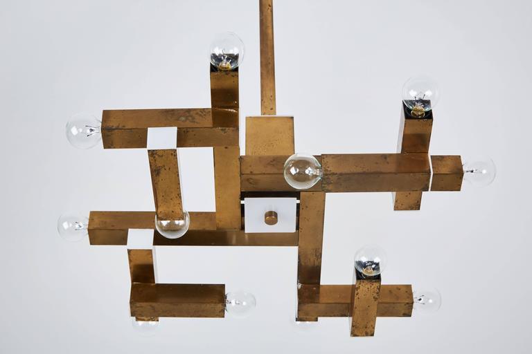 Italian Brass Chandelier by Lumi 8