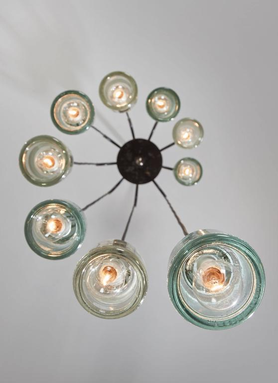 Italian Cascading Glass Chandelier by Tito Agnoli for Oluce For Sale