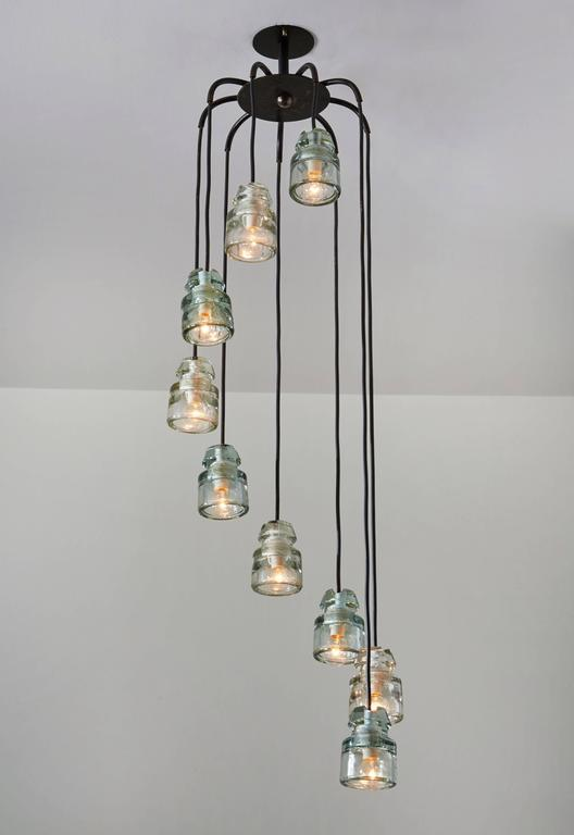 Mid-Century Modern Cascading Glass Chandelier by Tito Agnoli for Oluce For Sale