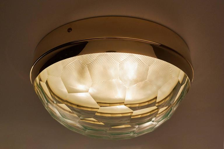 Multifaceted Glass and Brass Flush Mount Ceiling Light 2