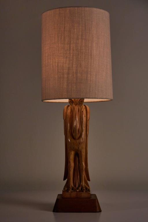 Hand-Carved and Signed Oak Table Lamp by Heifetz 2